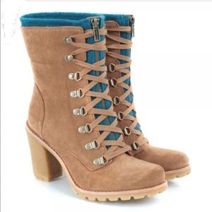 UGG Fabrice Lace Up Zipper Heeled Suede Boots 9